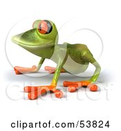 Royalty Free RF Clipart Illustration Of A Cute 3d Green Tree Frog Resting On All Fours And Facing Left by Julos