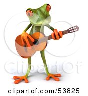 Royalty Free RF Clipart Illustration Of A Cute 3d Green Tree Frog Guitarist Playing Music Pose 1 by Julos