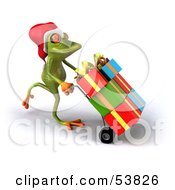 Royalty Free RF Clipart Illustration Of A Cute 3d Green Tree Frog Pushing Christmas Gifts On A Hand Truck Version 3 by Julos