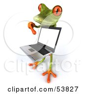 Royalty Free RF Clipart Illustration Of A Cute 3d Green Tree Frog Presenting A Laptop Pose 5