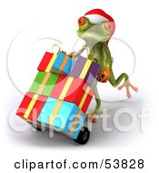 Royalty Free RF Clipart Illustration Of A Cute 3d Green Tree Frog Pushing Christmas Gifts On A Hand Truck Version 2 by Julos