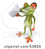 Royalty Free RF Clipart Illustration Of A Cute 3d Green Tree Frog Sipping From A Coffee Mug Pose 1 by Julos