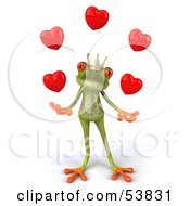Cute 3d Green Tree Frog Prince Juggling Hearts - Pose 2