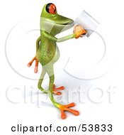 Royalty Free RF Clipart Illustration Of A Cute 3d Green Tree Frog Sipping From A Coffee Mug Pose 2 by Julos