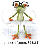 Royalty Free RF Clipart Illustration Of A Cute 3d Green Tree Frog Wearing Glasses And Reading Pose 5
