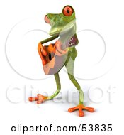 Royalty Free RF Clipart Illustration Of A Cute 3d Green Tree Frog Guitarist Playing Music Pose 2 by Julos