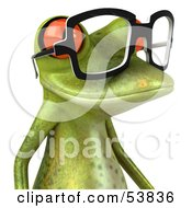 Cute 3d Green Tree Frog Wearing Spectacles Version 5 by Julos