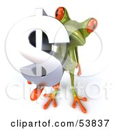 Royalty Free RF Clipart Illustration Of A Cute 3d Green Tree Frog Holding A Silver Dollar Symbol Pose 2 by Julos