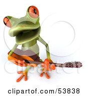 Royalty Free RF Clipart Illustration Of A Cute 3d Green Tree Frog Guitarist Playing Music Pose 4 by Julos