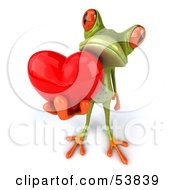 Cute 3d Green Tree Frog Giving A Red Heart - Pose 2