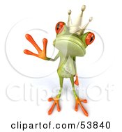 Royalty Free RF Clipart Illustration Of A Cute 3d Green Tree Frog Prince Waving Pose 2