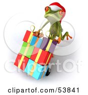 Royalty Free RF Clipart Illustration Of A Cute 3d Green Tree Frog Pushing Christmas Gifts On A Hand Truck Version 4 by Julos