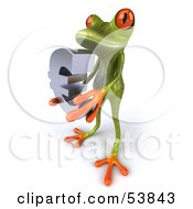 Royalty Free RF Clipart Illustration Of A Cute 3d Green Tree Frog Holding A Silver Euro Symbol Pose 1 by Julos