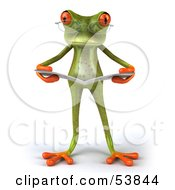 Royalty Free RF Clipart Illustration Of A Cute 3d Green Tree Frog Wearing Glasses And Reading Pose 1 by Julos