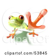 Royalty Free RF Clipart Illustration Of A Cute 3d Green Tree Frog Reaching Outwards With His Foot Version 2