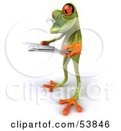 Royalty Free RF Clipart Illustration Of A Cute 3d Green Tree Frog Wearing Glasses And Reading Pose 3 by Julos