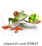 Royalty Free RF Clipart Illustration Of A Cute 3d Green Tree Frog Holding The Planet Pose 2 by Julos