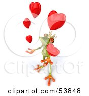 Royalty Free RF Clipart Illustration Of A Cute 3d Green Tree Frog Prince Juggling Hearts Pose 1 by Julos