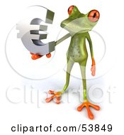 Royalty Free RF Clipart Illustration Of A Cute 3d Green Tree Frog Holding A Silver Euro Symbol Pose 4 by Julos