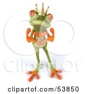 Royalty Free RF Clipart Illustration Of A Cute 3d Green Tree Frog Prince Making A Heart With His Fingers Pose 2