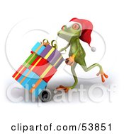 Royalty Free RF Clipart Illustration Of A Cute 3d Green Tree Frog Pushing Christmas Gifts On A Hand Truck Version 1 by Julos