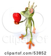 Royalty Free RF Clipart Illustration Of A Cute 3d Green Tree Frog Prince Giving A Heart Pose 1