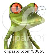 Royalty Free RF Clipart Illustration Of A Cute 3d Green Tree Frog Wearing Spectacles Version 3 by Julos