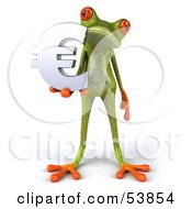 Royalty Free RF Clipart Illustration Of A Cute 3d Green Tree Frog Holding A Silver Euro Symbol Pose 2 by Julos