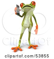 Royalty Free RF Clipart Illustration Of A Cute 3d Green Tree Frog Chatting On A Cell Phone Pose 1 by Julos