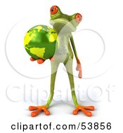 Royalty Free RF Clipart Illustration Of A Cute 3d Green Tree Frog Holding The Planet Pose 5 by Julos