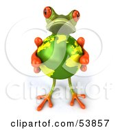 Royalty Free RF Clipart Illustration Of A Cute 3d Green Tree Frog Holding The Planet Pose 8 by Julos