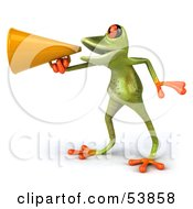Royalty Free RF Clipart Illustration Of A Cute 3d Green Tree Frog Speaking Through A Megaphone Pose 2 by Julos