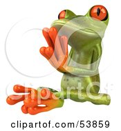 Royalty Free RF Clipart Illustration Of A Cute 3d Green Tree Frog Meditating Pose 4 by Julos