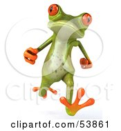 Royalty Free RF Clipart Illustration Of A Cute 3d Green Tree Frog Running Forward