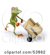 Royalty Free RF Clipart Illustration Of A Cute 3d Green Tree Frog Rolling Packages On A Hand Truck Pose 3 by Julos