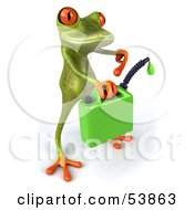 Royalty Free RF Clipart Illustration Of A Cute 3d Green Tree Frog Holding A Gas Can Of Bio Fuel Pose 2