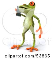 Royalty Free RF Clipart Illustration Of A Cute 3d Green Tree Frog Chatting On A Cell Phone Pose 2 by Julos