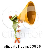 Royalty Free RF Clipart Illustration Of A Cute 3d Green Tree Frog Speaking Through A Megaphone Pose 3 by Julos