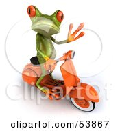 Royalty Free RF Clipart Illustration Of A Cute 3d Green Tree Frog Riding An Orange Scooter And Waving