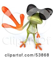 Royalty Free RF Clipart Illustration Of A Cute 3d Green Tree Frog Waving And Wearing Shades Pose 2