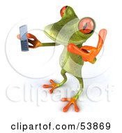 Royalty Free RF Clipart Illustration Of A Cute 3d Green Tree Frog Chatting On A Cell Phone Pose 5 by Julos