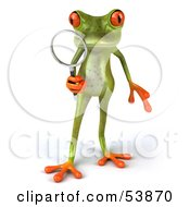 Royalty Free RF Clipart Illustration Of A Cute 3d Green Tree Frog Using A Magnifying Glass Pose 1