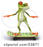 Royalty Free RF Clipart Illustration Of A Cute 3d Green Tree Skater Frog Skateboarding Pose 1 by Julos