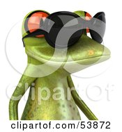 Royalty Free RF Clipart Illustration Of A Cute 3d Green Tree Frog Wearing Shades Pose 2