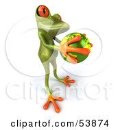 Royalty Free RF Clipart Illustration Of A Cute 3d Green Tree Frog Holding The Planet Pose 3 by Julos
