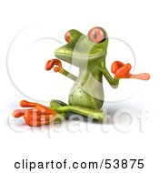 Royalty Free RF Clipart Illustration Of A Cute 3d Green Tree Frog Meditating Pose 2 by Julos