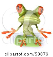 Royalty Free RF Clipart Illustration Of A Cute 3d Green Tree Skater Frog Skateboarding Pose 3 by Julos