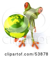 Royalty Free RF Clipart Illustration Of A Cute 3d Green Tree Frog Holding The Planet Pose 6 by Julos