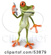 Royalty Free RF Clipart Illustration Of A Cute 3d Green Tree Frog Chatting On A Cell Phone Pose 3 by Julos