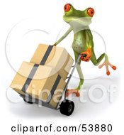 Royalty Free RF Clipart Illustration Of A Cute 3d Green Tree Frog Rolling Packages On A Hand Truck Pose 2